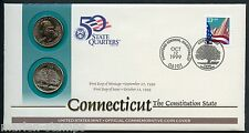 UNITED STATES 50 STATE QUARTERS CONNETICUT  P & D OFFICIAL COMMEMORATIVE  COVER