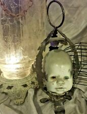 Hanging Haunted house prop doll halloween creepy horror zombie head candleholder