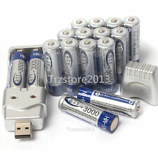 16Pcs AA 3000mAh 1.2V Ni-MH BTY Rechargeable Battery Cell WithAA AAA USB Charger