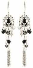 Zest Swarovski Crystal Drop Pierced Earrings Silver Effect & Black