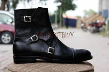 New Handmade Mens Black 3 Buckles Real Leather Boots, Men Black Boots
