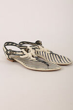 Moschino Cheap & Chic Black Cream Rope & Patent Leather Flat Thong Sandals SZ 36