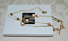 NWT $225 ALEXIS BITTAR Lucite Luna Sphere Crystal Station Necklace Sunset Blush