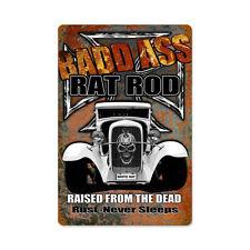 Bad Ass Hot White Rat Rod Iron Cross Skull Retro Sign Blechschild Schild Groß