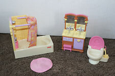 Fisher Price Doll House Bathroom Furniture lot 4 pc Tub Toilet w brush sink, rug