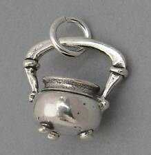 Sterling Silver 925 Charm Pendant 3D Witch's CAULDRON KETTLE Halloween SC126