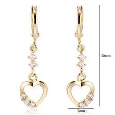 30mm love gold filled heart dangle earrings crystal womens drop earings