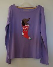 New In Package ~ Mini Boden Purple Puppy In Stocking Appliqued Top ~ Sz 9-10