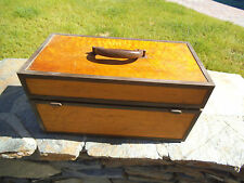 "Birdseye Maple  17 1/2""x 8 3/4"" x 9"" Wood Tackle/Tool  Box with Roll Away Door"