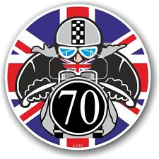 Retro Cafe Racer 1970 Ton Up Club Union Jack Flag Roundel vinyl car bike sticker