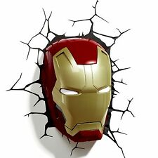 Marvel Iron Man 3D LED murale lampe nouveau + stickers masque
