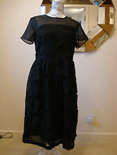 BNWT BLACK RIVER ISLAND EMBROIDERED BEADED DOUBLE LAYER DRESS - SIZE 14