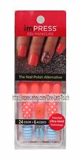 KISS imPRESS Press-On Manicure SYMPHONY 30 Gel Nails+Accent CORAL+ANCHOR+POLKA