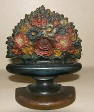 ANTIQUE BRADLEY & HUBBARD CAST IRON FLOWERS IN GARDEN URN DOOR STOP