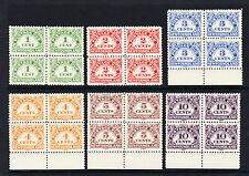 NEWFOUNDLAND 1939-49 POSTAGE DUES SET IN BLOCKS OF FOUR SG D1-D6 MNH.