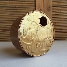 RETRO Vintage 'BIG DOLLAR' Easy SAVER Australian $1 GOLD Coin PLASTIC Money BOX