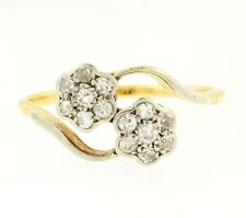Vintage 18Ct Yellow Gold & Plat Diamond(0.20ct) Double Daisy Cluster(Size O 1/2)