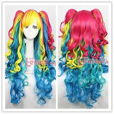 Lolita Long Rainbow Multi-color Curly Wave Full Size Cosplay Wig with Ponytails