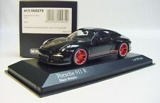 "1:43 MINICHAMPS 2016 PORSCHE 911R 991 II ""ALMOST REAL"" Black Red LE 399 pcs."