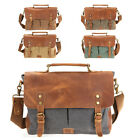 "Mens Canvas Bookbag Leather Messenger Bags 14"" Laptop Briefcase Shoulder Satchel"