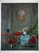 18th Century French Bourgeois Romantic Theme - Hand Colored Etching - plate 9