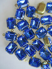 50 Swarovski 10x8mm Rectangle Rhinestones 4-Prong Brass Setting w/Ring Sapphire