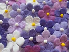100! Cute Mulberry Paper Daisy Flowers - Lilac Purple White Mix - 17mm/0.6""