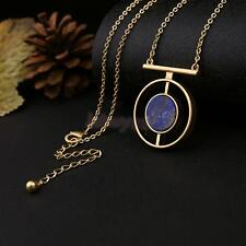Simple Fashion Ethnic Style Blue Stone Pendant Necklace Long Chain Jewelry