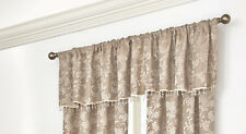 Splendor Mocha Brown Beige Floral Jacquard Tailored Valance with Bead Trim