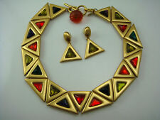 RARE ANNE KLEIN COUTURE GRIPOIX STYLE TRIANGLE PANEL BIB NECKLACE EARRINGS SET