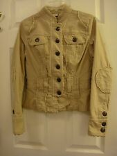 Junior's No Boundaries Safari Khaki Beige Jacket Size Medium 7/8