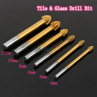 Titanium Triangle Drill Bit Carbide Tile & Glass Cross Spear Head 4-12mm