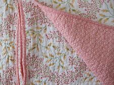LAURA ASHLEY 3pc F/QUEEN Quilt SET Coral Pink Green Yellow FLORAL TOILE Cotton
