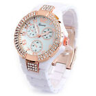 New White Rose Gold Geneva 3D Crystal Bezel Boyfriend Style Women's Watch