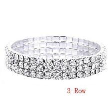 Brilliant 3 Row Crystal STRETCH Tennis CUFF Bracelet SUPER SEXY,F2273