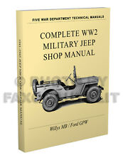 Willys MB Ford GPW Miltary Jeep Repair Manual 1941-1945 PAPER WW2 Shop Service