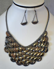 WOMEN'S  STATEMENT DARK GRAY TONE  PENDELUM CHOKER/BIB NECKLACE & EARRING SET