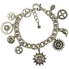 NEW KIRKS FOLLY GEARS OF GLORY STEAMPUNK CHARM BRACELET  SILVERTONE