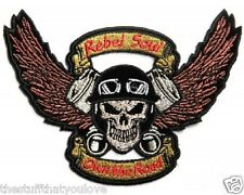 "(L09) Large SKULL & PISTONS REBEL SOUL 11"" x 8"" iron on back patch (4354)"