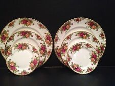 1962 Royal Albert Old Country Roses (2) Plates Sets Dinner Bread Salad ENGLAND