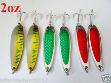 6 pieces casting 2oz crocodile spoons saltwater fishing lures combo