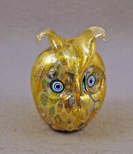 NEW MURANO MILLEFIORI OWL BIRD FIGURINE ITALIAN ART GLASS & MURANO ITALY STICKER