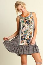 UMGEE Blooming FLORAL Sleeveless Peasant Boho Tunic Ruffle Gypsy Lace Dress M