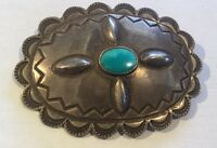 Vintage Native American Navajo Sterling Silver and Turquoise Concho Pin Brooch