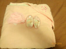Pink Baby Wrap Blanket with matching Newborn Shoes and Newborn Hat Bundle.