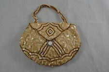 VINTAGE gold beaded and ivory sequin evening bag purse 1940s MADE IN BELGIUM