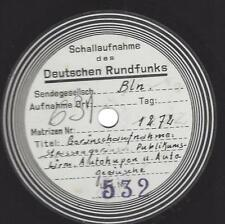 Reichsrundfunk Platte von 1936 aus Berlin mit Geräuschaufnahmen - Strassengeräus