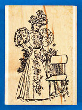 Woman in Victorian Dress Rubber Stamp - 1830s Leg of Mutton Gigot Sleeve Parasol