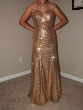 GOLD PAGEANT OR PROM GOWN - IN EXCELLENT CONDITION - ALTERED TO A SIZE 2