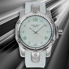 NEW Deporte 9849 Mens Toretta Silver Case White Sillicone w/Green Watch huge man